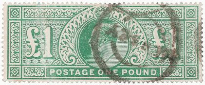 GB - EDVII 1902 £1 dull blue green, used example, SG266, cat £825