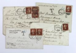 GB - covers from UK to Wisconsin USA, dated between 1870 to 1878. One posted Margate DE 13 78 -