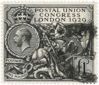 GB - 1929 GV PUC £1 black. Smudged oval registered cancel, overall good perfs, SG438, cat £550