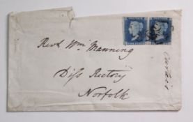 GB - QV 1840 Two Pence blues (J-K) and (C-B) used on cover to Rev Manning, Diss Rectory, Norfolk.