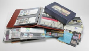 GB - box of Presentation Packs from c1969 to 2001, 2x albums, a box of Millennium P/Packs, and a