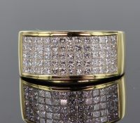 18ct yellow gold wide band set with seventy princess cut diamonds in an invisible setting, total