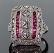 Platinum diamond and ruby Art Deco style large rectangular dress ring measuring 2cm x 1.5cm and
