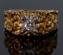 18ct yellow gold heavily textured flared band ring set with a single round brilliant cut diamond