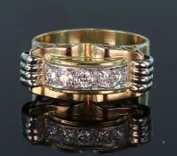 18ct yellow gold Art Deco style ring set with five round brilliant cut diamonds calculated as