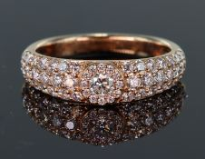 18ct rose gold pave set band ring with a total diamond weight calculated as weighing approx. 0.75ct,