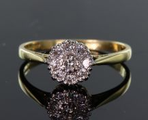 18ct yellow gold nine stone diamond cluster ring, diamonds calculated as weighing a total of approx.