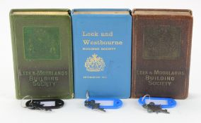 Money boxes, Antique money boxes (3) designed as books, Leek and Moorlands Building Society (2),