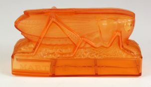 Money box, Martins Bank Grasshopper design in orange plastic, no key required, there is a