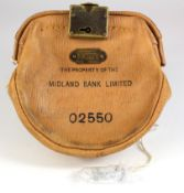 Night safe bag, Midland Bank Leather night safe bag number O2550 complete with key, unusual external