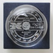 Halifax and Leeds Building Society merger 1995, a nice heavy dome paperweight in padded presentation