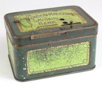 Money box, the London Magazine Savings Bank, square tin box with hinged lid, no key required,
