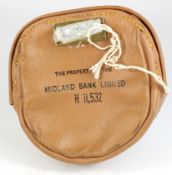 Night safe bag, Midland Bank Leather night safe bag number H11532 complete with key, very good