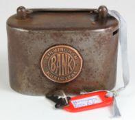 Money box, Birmingham Municipal Bank heavy Iron money box number 97504, complete with key, it has