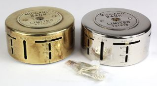 Money box, Midland Bank round metal money box/home safes (2) number 671527 without key, base is