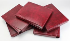Albums, Banknote albums (5), good albums with slip cases, all with sleeves, Red finish, used