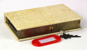 Money box, Surrey Trustee Savings Bank, book design, number 4910, complete with key and original
