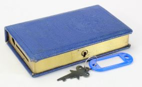 Money box, South Eastern Trustee Savings Bank, book design, number 4792, complete with key very good
