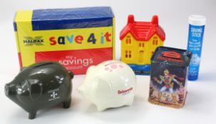 Money Boxes, Piggy Banks (6), Alliance & Leicester Piggy Bank in grey plastic without key, Britannia