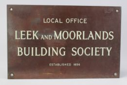 Leek and Moorlands Building Society Local Office heavy brass plaque, some light scuffs and