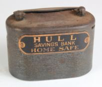 Money box, Hull Savings Bank, heavy Iron money box/home safe number 8329, without key, base is