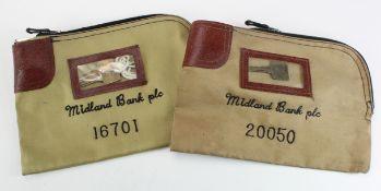 Night safe bags, Midland Bank plc night safe bag (2) U.S. versions, number 20050 & 16701, complete