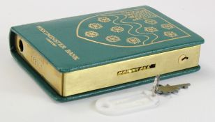 Money box, Westminster Bank Limited, book design, number 168901, complete with key and original box,