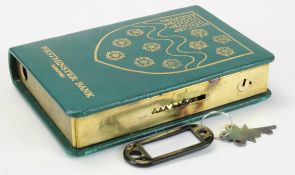 Money box, Westminster Bank Limited, book design, number 168689, complete with key and original box,