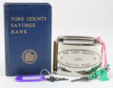 Money box (2), York County Savings Bank small oval metal box with key, number 1531, made in USA,