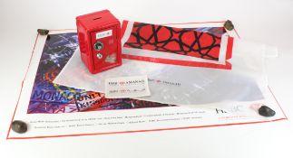 Money box, HSBC Bank, large metal money box 'safe with dial' design, complete with keys, HSBC