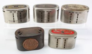Money box (5), a group of metal oval money boxes/home safes, Post Office Savings Bank number