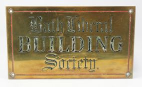 Bath Liberal Building Society brass sign, lettering and design engraved into the metal and