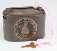 Money box, Farrow's Bank Limited Woolwich Branch metal money box number 22038, The Boy of Panyer