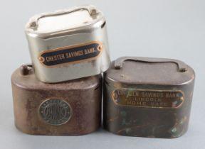Money box (3), Sheffield Savings Bank iron oval box no.11255 without key, Lincoln Savings Bank brass