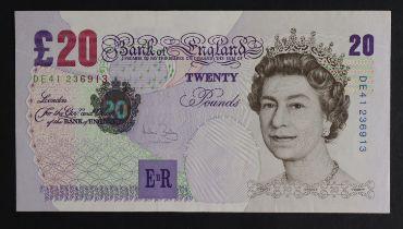 Bailey 20 Pounds issued 2004, rare FIRST RUN 'DE41' prefix, serial DE41 236913 (B402, Pick390b) EF