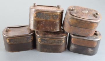 Money box (5), Leicester Cooperative Society Limited, a group of 5 heavy iron boxes without keys