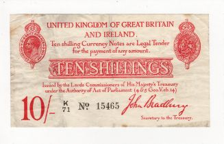 Bradbury 10 Shillings issued 1915, 5 digit serial number K/71 15465 (T12.1, Pick348a) some stains