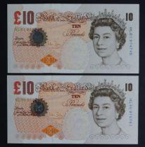 Bailey 10 Pounds (2), Column Sort pair issued 2004, rare FIRST PREFIX of LAST SERIES 'HL01' prefix