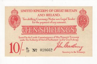Bradbury 10 Shillings issued 1915, serial S1/17 018662 (T13.2, Pick348a) lightly pressed EF