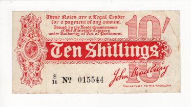 Bradbury 10 Shillings issued 1914, serial S/16 015544, No. with dot (T8, Pick346) small edge nick,