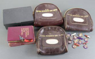 Banking Ephemera, National Westminster Bank leather night safe bags (3) no keys needed these bags