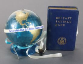 Money box (2), Belfast Savings Bank, book design no. 43307 with key, plus Ulster Bank Limited,