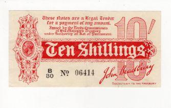 Bradbury 10 Shillings issued 1914, serial B/30 06414, No. with dot (T10, Pick346) lovely crisp,