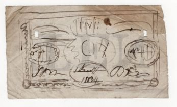 Paper ephemera, hand drawn sketch for bank note design dated 1834