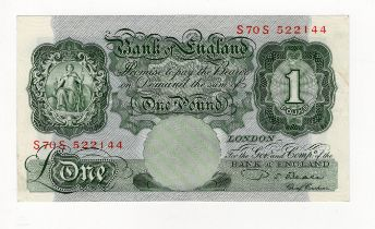 Beale 1 Pound issued 1950, scarce LAST RUN REPLACEMENT note 'S70S' prefix, serial S70S 522144 (B269,