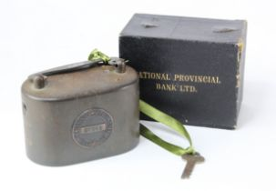 Money box (2), National Provincial Bank Ltd, heavy iron boxes one without key, no. 104532, but has