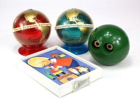 Money box (4), plastic Globe design (2), Perth Trustee Savings Bank without key, small crack to