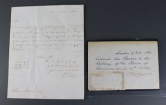 Paper ephemera, letter to Royal Bank of Scotland signed Henry Hase and dated 1822, plus a note