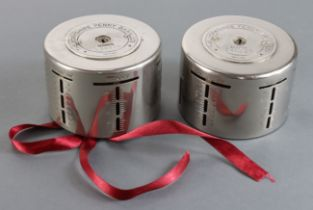 Money box (2), Yorkshire Penny Bank Ltd, steel round money boxes no.146143 without key and no.239970