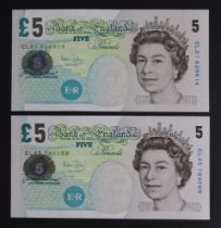 Bailey 5 Pounds (2), Column Sort pair issued 2004, rare FIRST RUN 'EL01' prefix and LAST RUN '